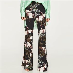 NWT Zara Floral and Bird Printed Flared Trousers